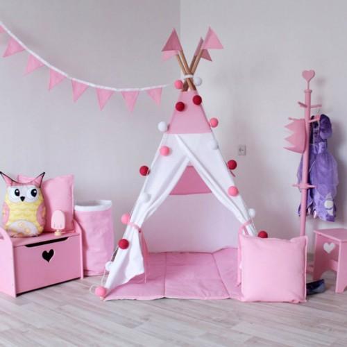 """Детский вигвам """"Рассвет"""" белый с розовым с подушкой-1"""