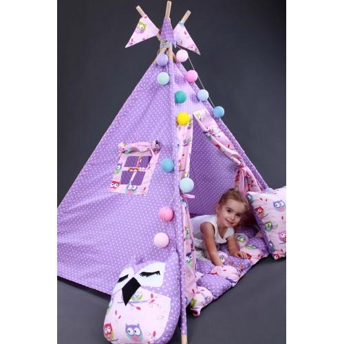 """Детский вигвам """"Бонбон Совы"""" фиолетовый с подушками-2"""