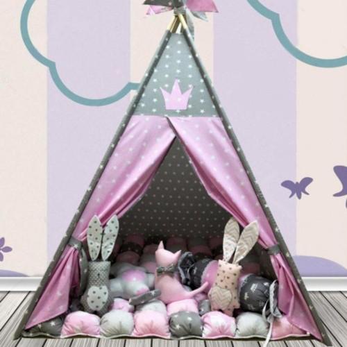 "Детский вигвам ""Бонбон Принцесса"" Розово-серый с подушками-1"