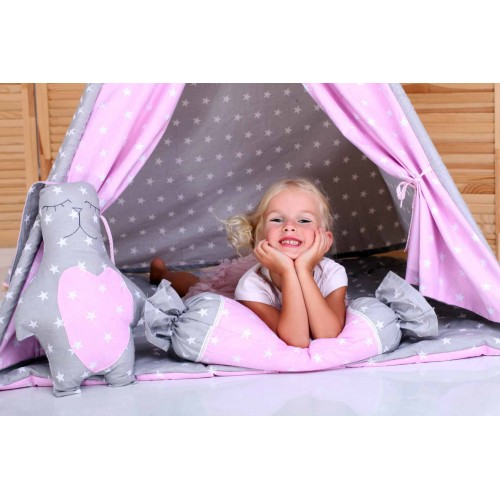 "Детский вигвам ""Бонбон Принцесса"" Розово-серый с подушками-2"