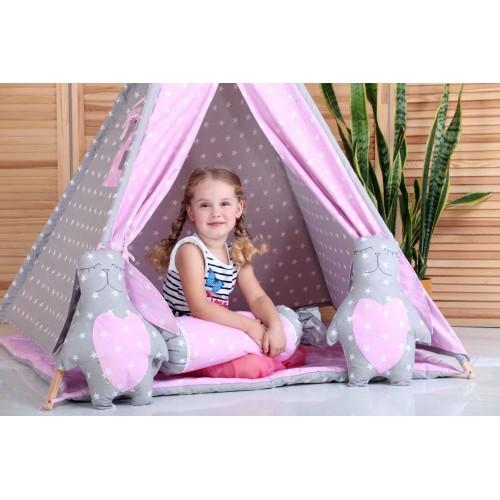 """Детский вигвам """"Принцесса"""" розовый с серым с подушкой-3"""