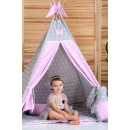 """Детский вигвам """"Принцесса"""" розовый с серым с подушкой-2"""