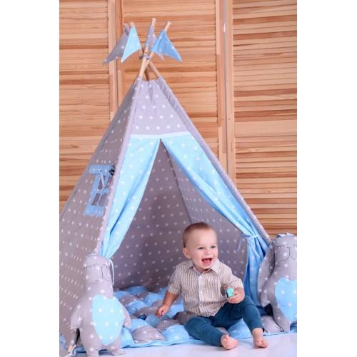 """Детский вигвам """"Бонбон Принц"""" синий с серым с подушками-4"""