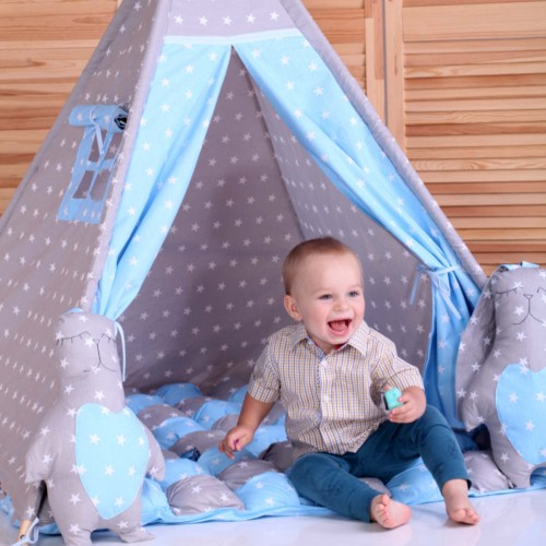 """Детский вигвам """"Бонбон Принц"""" синий с серым с подушками"""