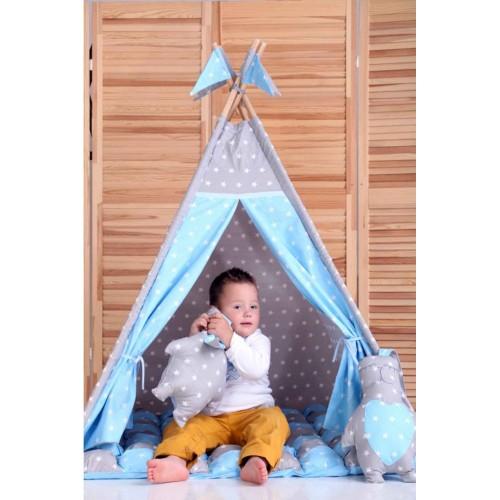 """Детский вигвам """"Бонбон Принц"""" синий с серым с подушками-3"""