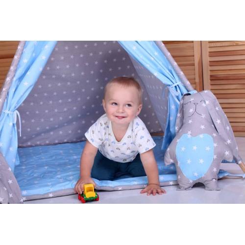 """Детский вигвам """"Принц"""" синий с серым с подушками-3"""