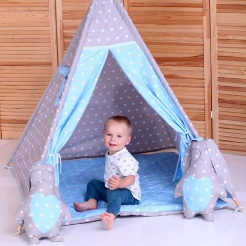 """Детский вигвам """"Принц"""" синий с серым с подушками-1"""