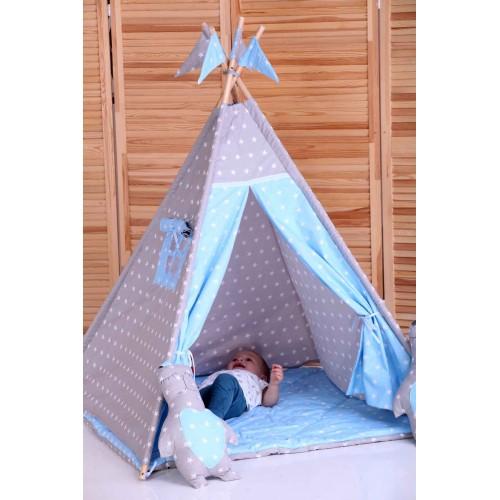 """Детский вигвам """"Принц"""" синий с серым с подушками-2"""