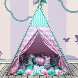 """Детский вигвам """"Бонбон Слоны"""" розовый с мятой с подушками-1"""